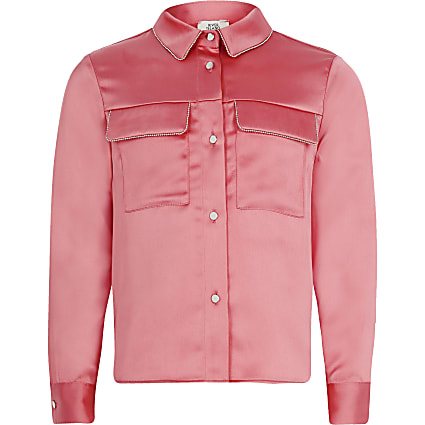 Girls coral beaded trim long sleeve shirt
