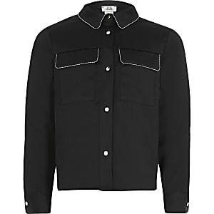 Langärmelige Bluse in Schwarz mit Perlensäumung für Mädchen