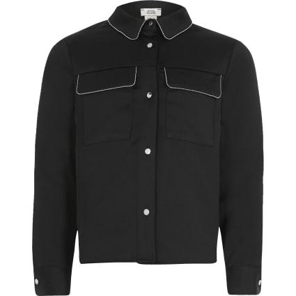 Girls black beaded trim long sleeve shirt