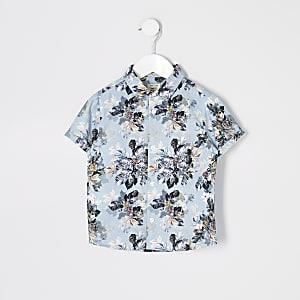 Mini – Blaues, kurzärmeliges Hemd mit Blumenmuster für Jungen