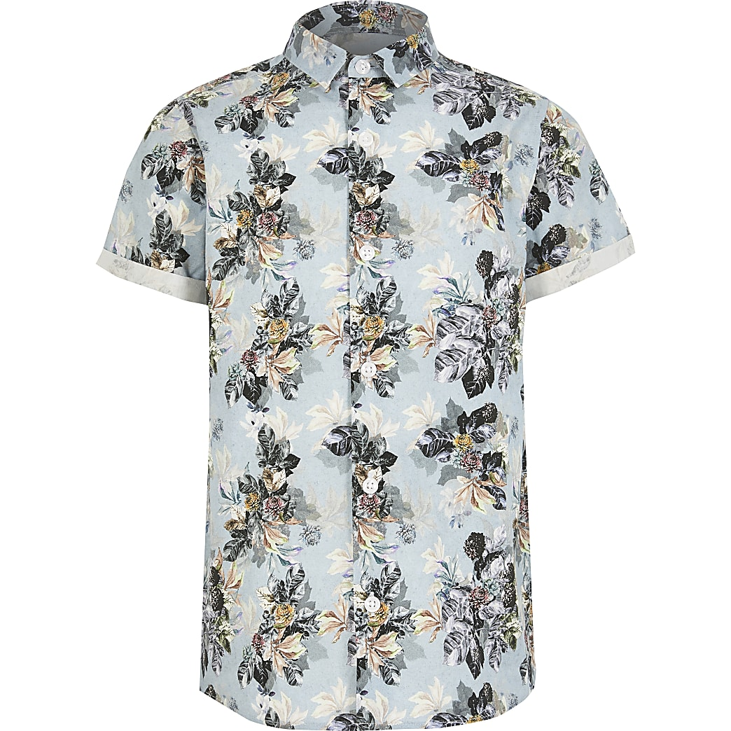 Boys blue floral short sleeve shirt