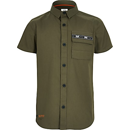 Boys khaki short sleeve utility shirt