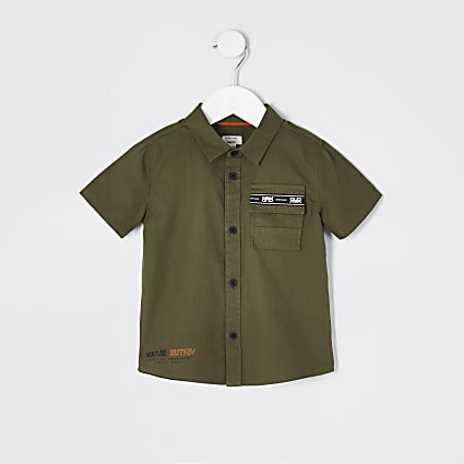 Mini boys khaki short sleeve utility shirt