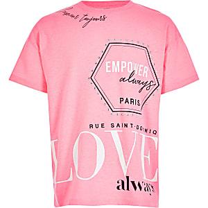 Neonpinkes, bedrucktes T-Shirt
