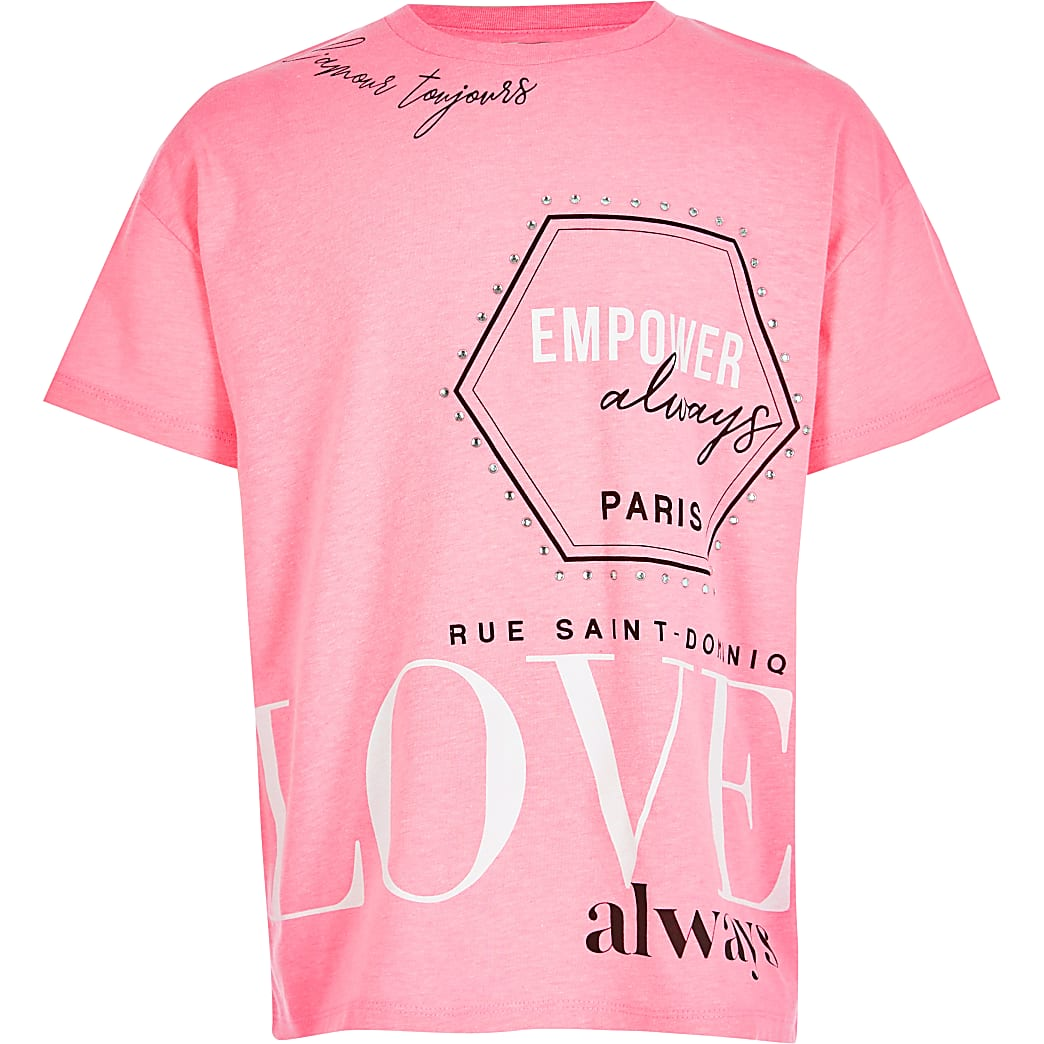 Girls neon pink printed T-shirt