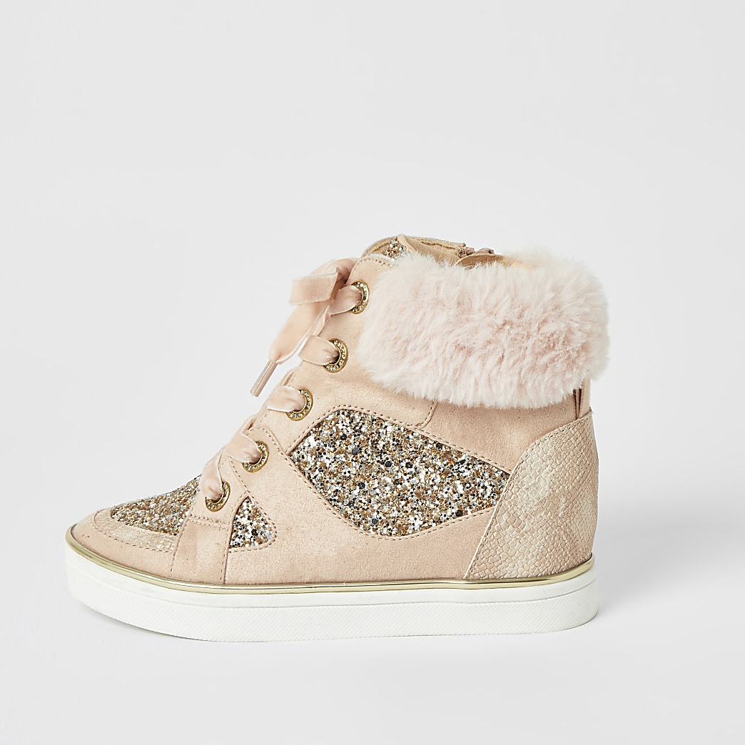 Girls pink glitter high top lace-up trainers