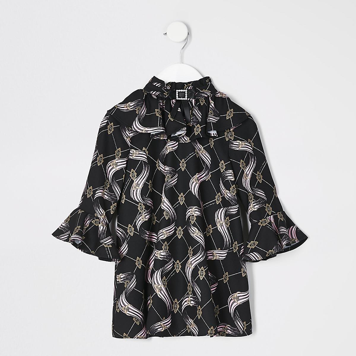 Mini girls black print bow neck dress
