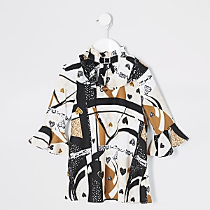 Mini – Beiges Mädchenkleid mit Print und Schleife am Kragen