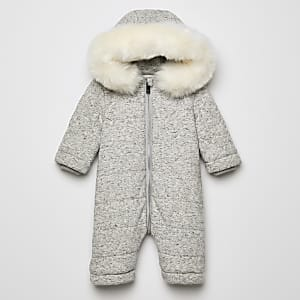 Grijs RIR sneeuwpak met imitatiebont capuchon voor baby's