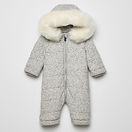 Baby grey RIR faux fur hooded snowsuit