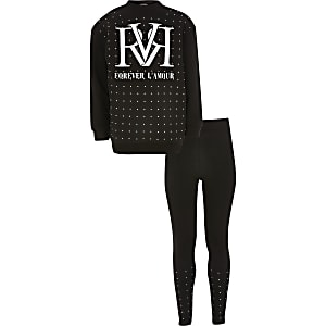 Schwarzes RVR-Sweatshirt-Outfit für Mädchen mit Strass