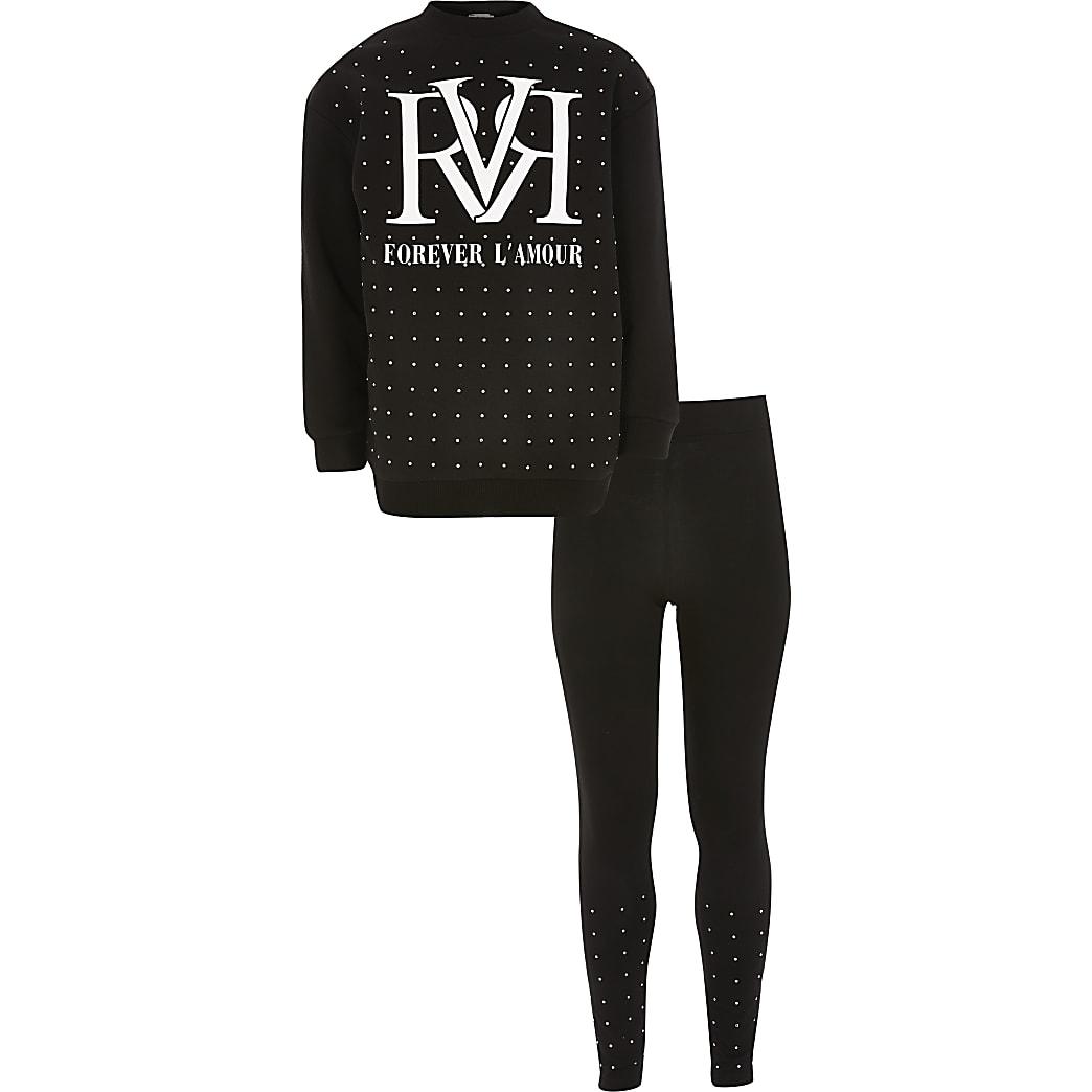 Girls black RVR diamante sweatshirt outfit