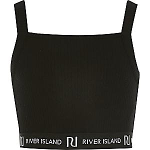 Zwart RI croppedhemdje met vierkante kraag voor meisjes