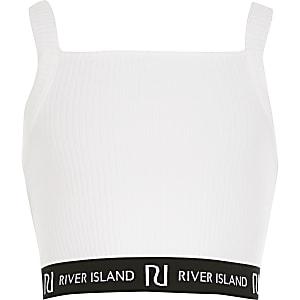 Witte geribbeldecroppedtop met RI-logo voor meisjes