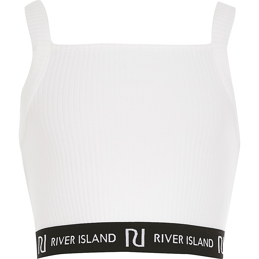 Girls white ribbed RI cropped top