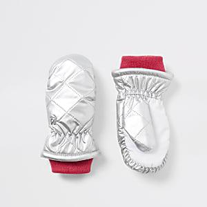 Gefütterte Fäustlinge in Silber für kleine Mädchen