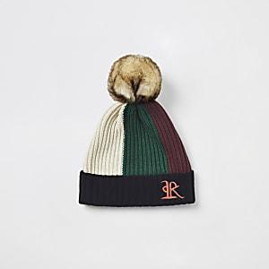 Rote Beanie-Mütze mit Colour-Block für kleine Jungen