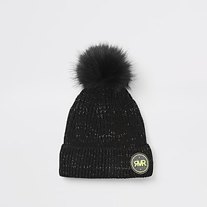 Boys black RVR beanie hat