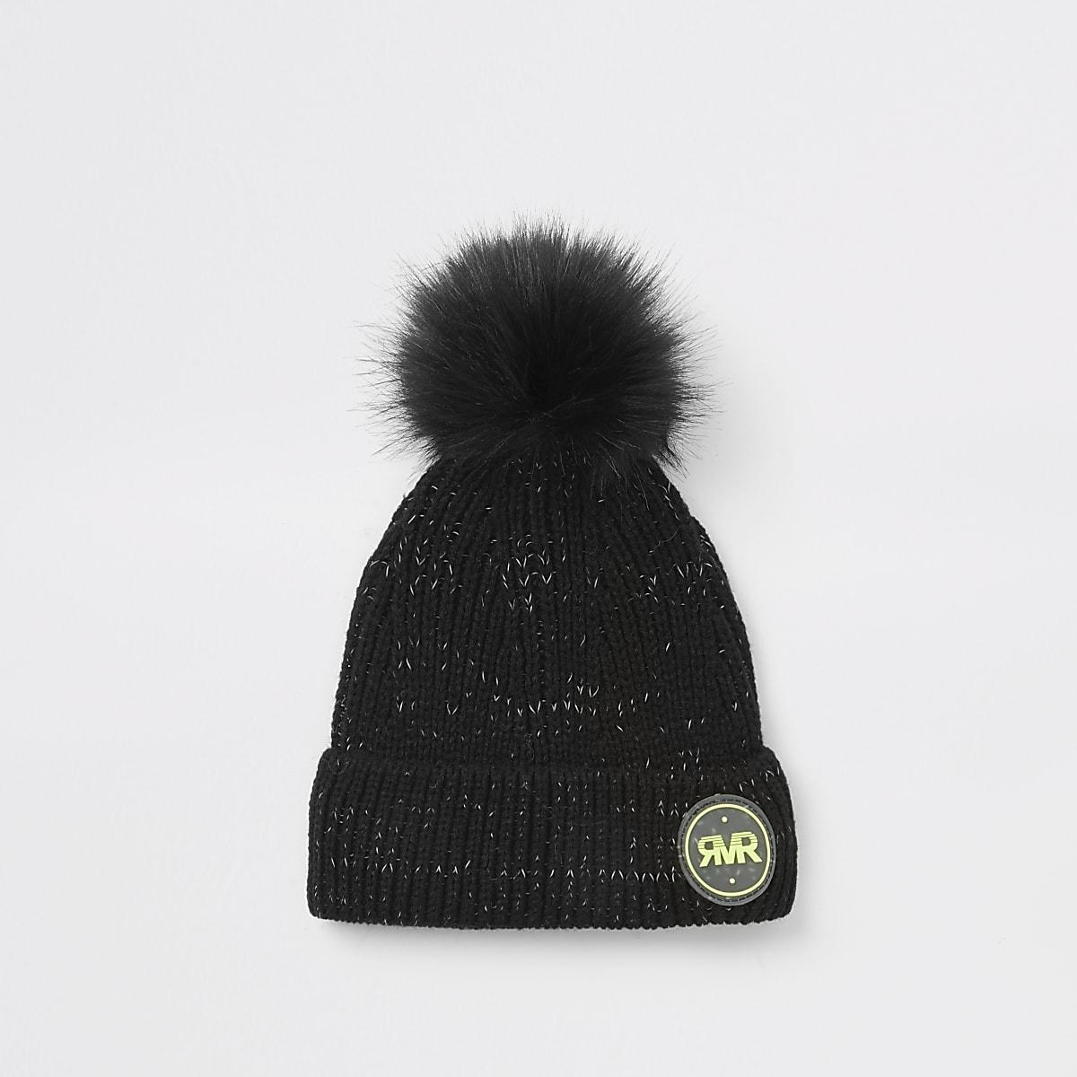 Boys black RVR beanie hat