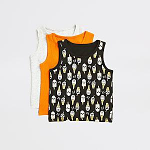 Mini – Bedruckte, schwarze Unterhemden für Jungen im 3er-Pack