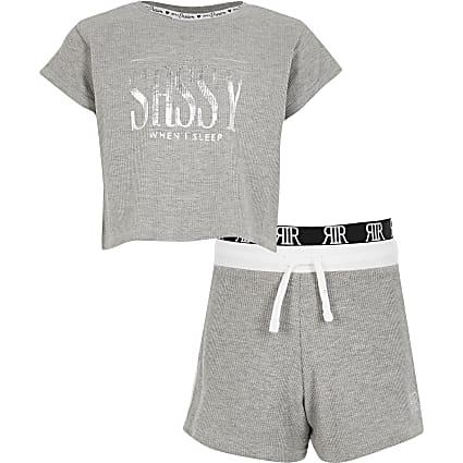 Girls grey 'sassy' cropped waffle pyjamas