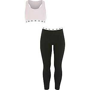 Ensemble de vêtements confort roses avec crop top pour fille