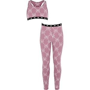 Loungewear-Set in Rosa mit RI-Monogramm-Muster für Mädchen