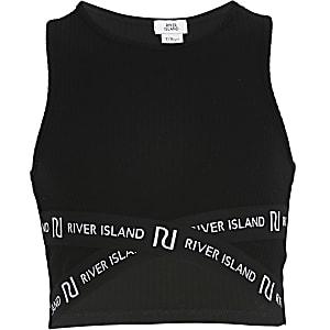 Schwarzes, kurzes RI-Oberteil im überkreuztem Design für Mädchen