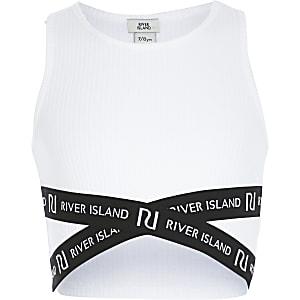 Weißes, kurzes RI-Oberteil im überkreuztem Design für Mädchen