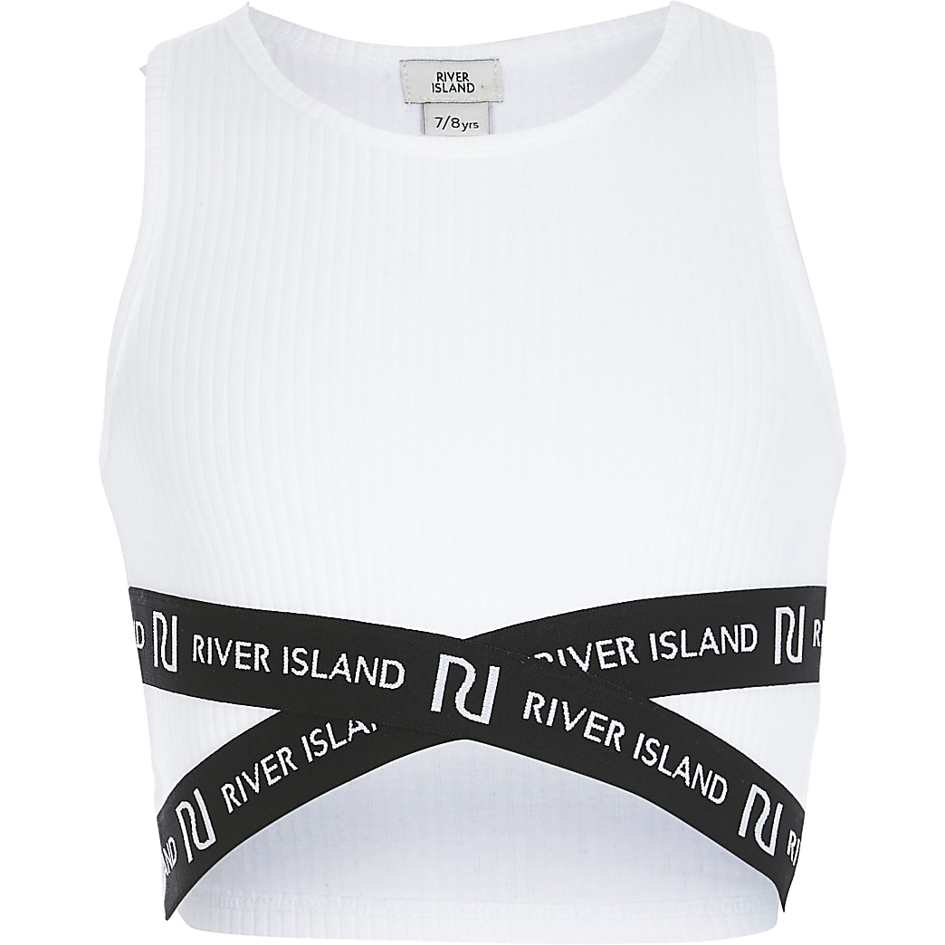 Girls white RI cross over cropped top
