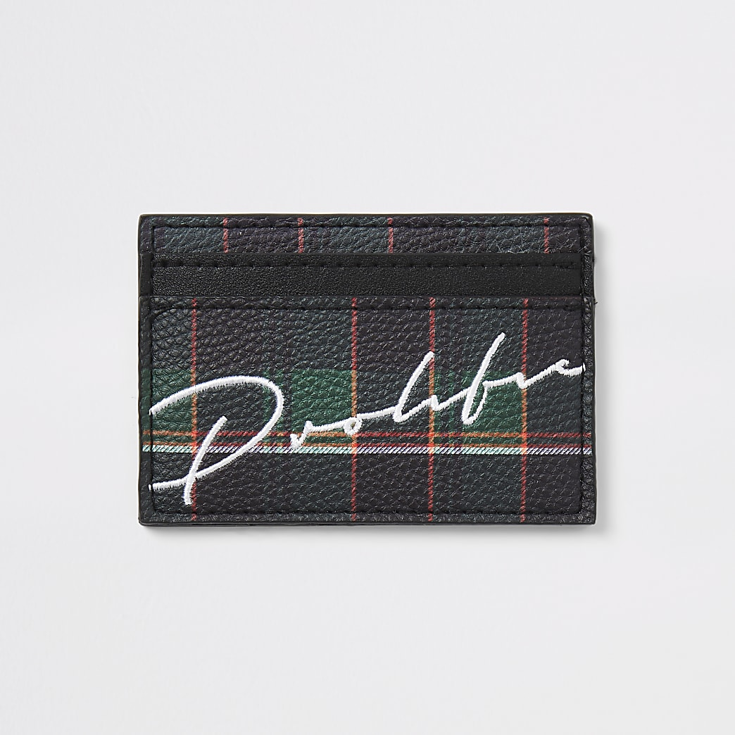 Prolific navy check card holder wallet