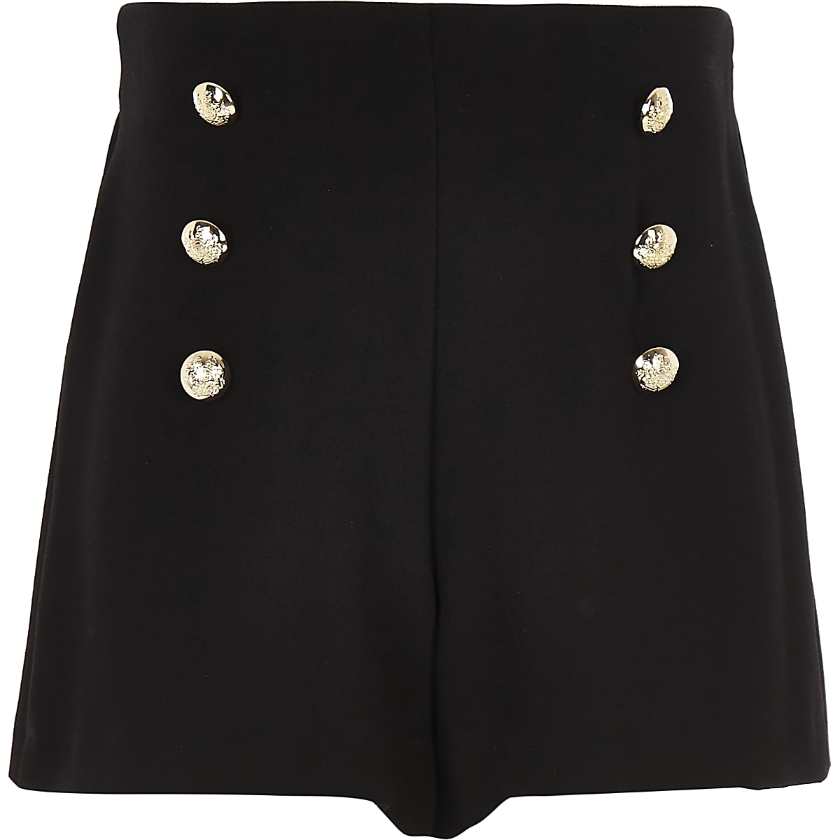 Girls black button front shorts