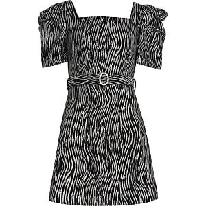Skaterkleid mit Puffärmeln und Zebraprint für Mädchen