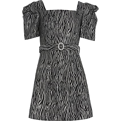 Girls zebra print puff sleeve skater dress