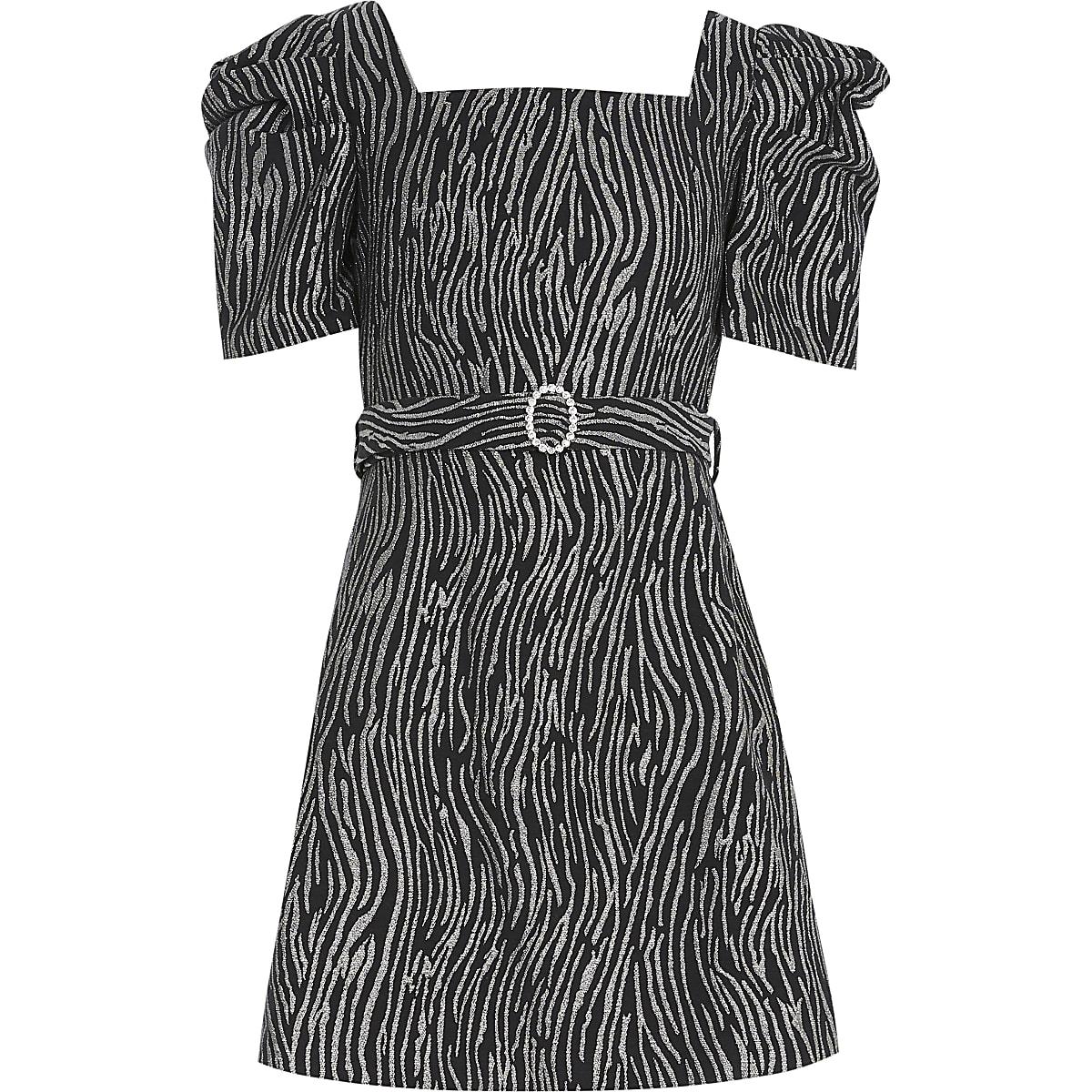 Girls zebra print puff sleeve skater dress