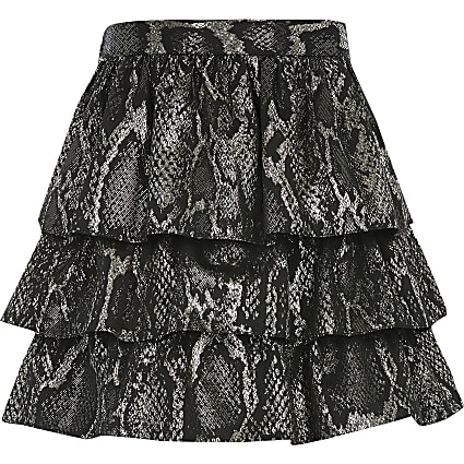 Girls black snake printed frill skirt