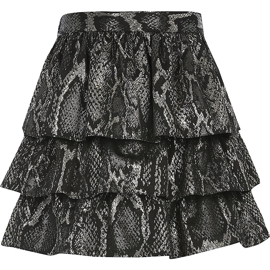 Girls black snake printed frill skirt