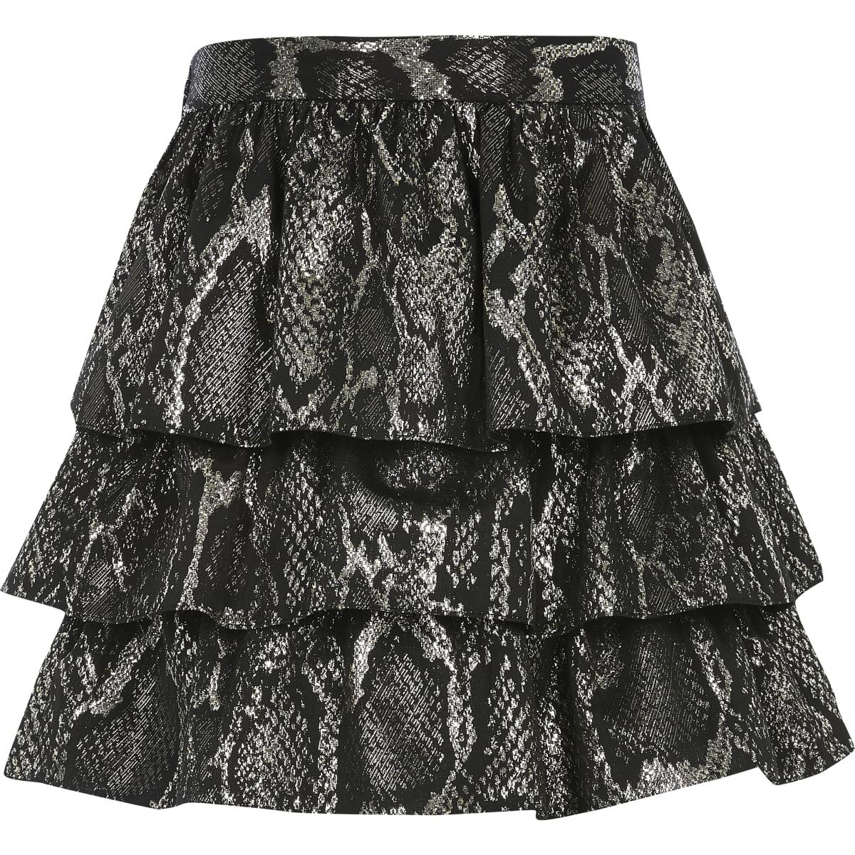 Zwarte rok met ruches en slangenprint voor meisjes