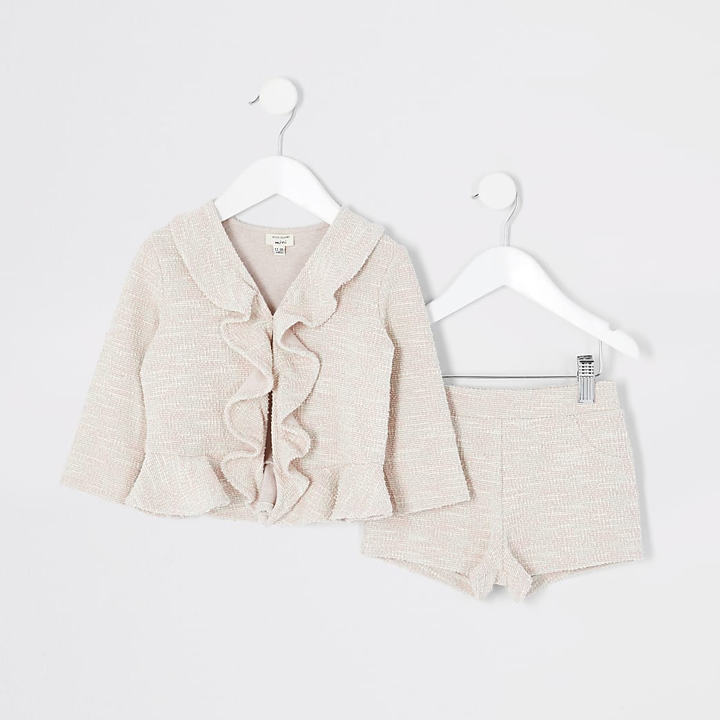 Mini girls pink boucle frill jacket outfit