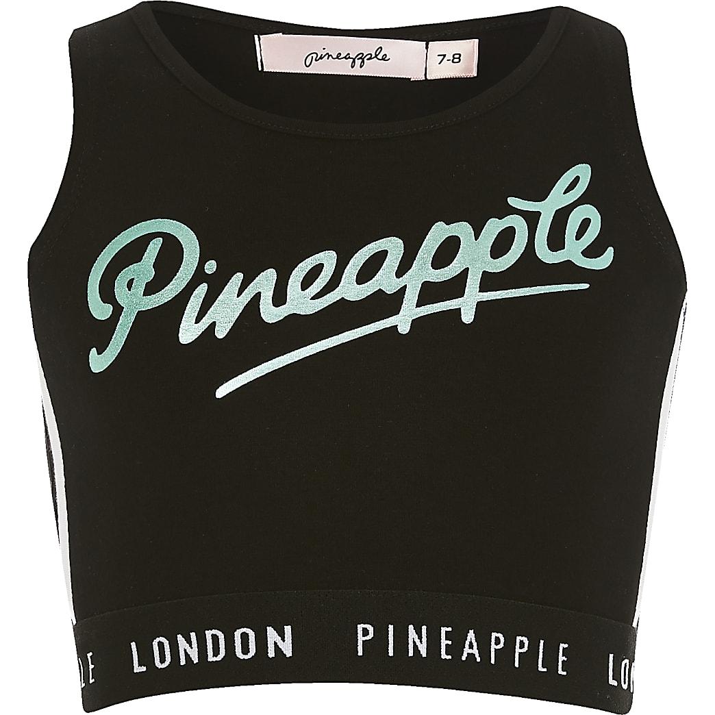 Girls Pineapple black printed crop top