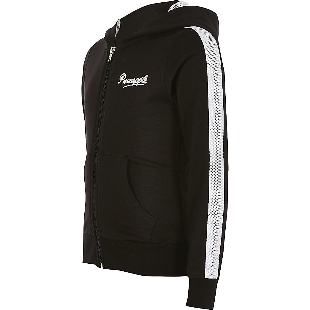 Girls Pineapple black mesh zip hoodie