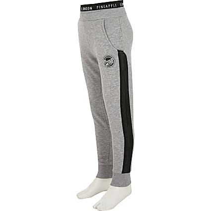 Girls Pineapple grey marl mesh joggers