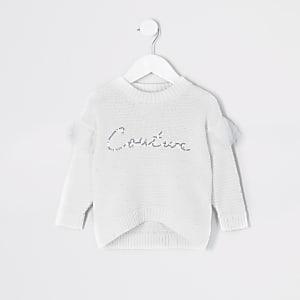 Pull blanc avec inscription « Couture» en sequins Mini fille