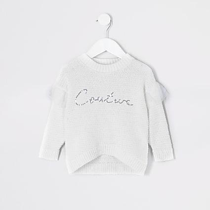 Mini girls white 'Couture' sequin jumper