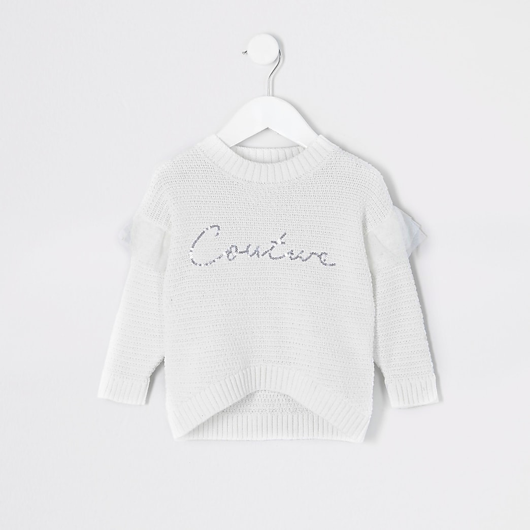 Mini girls white 'Couture' sequin jumper