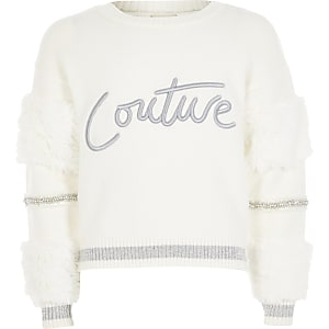 """Weißer Pullover """"Couture"""" mit Kunstfellärmeln für Mädchen"""