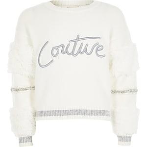 Witte trui me 'Couture'-print en imitatiebonten mouwen voor meisjes