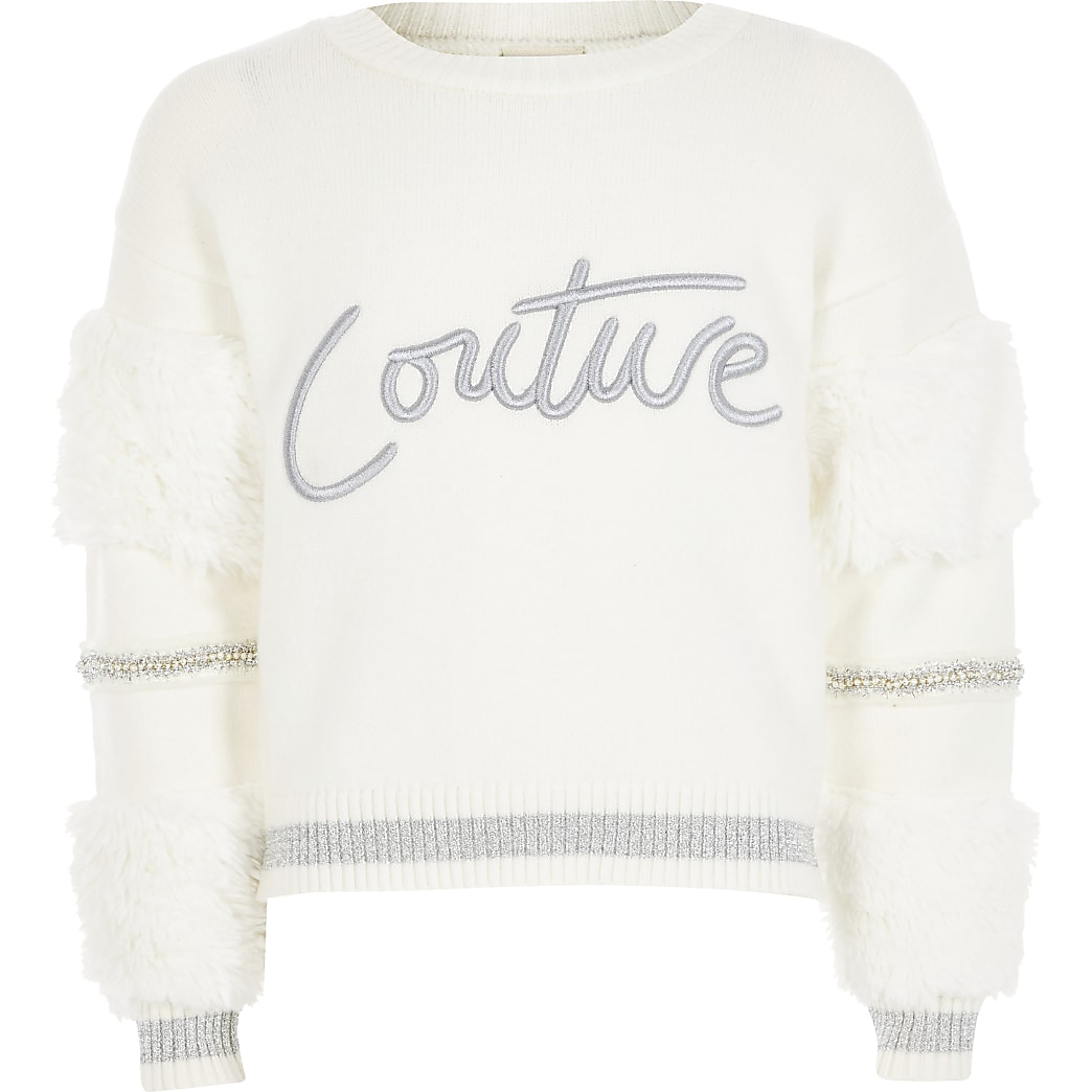 Girls white faux fur sleeve 'Couture' jumper