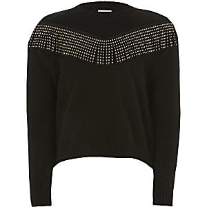 Zwarte gebreide trui met kwastjes met siersteentjes voor meisjes