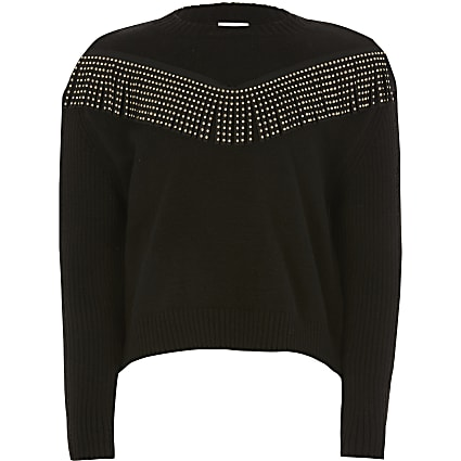 Girls black diamante tassel knitted jumper